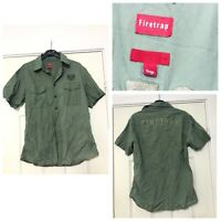 Firetrap Mens Shirt Green Short Sleeve Size Large L (C148)