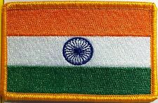 INDIA Flag Military Tactical Patch W/ VELCRO® Brand Fastener Gold Emblem #9