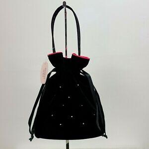Victorias Secret Drawstring Bag Purse Black Velvet Rhinestone Pink Satin Lining