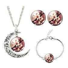 Pink Plum Blossom Flower Jewellery Set Stud Earrings Moon Necklace Bracelet S897