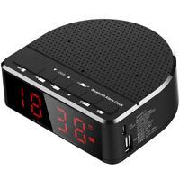 Digital Alarm Clock Radio with Bluetooth Speaker,Red Digit Display with 2 D G3R6