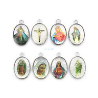 wholesale Catholic Religious Crosses Enamel Medals Charms  Pendants 20Pcs 25mm