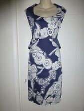 Per Una size 8 fitted blue and white dress sleeveless