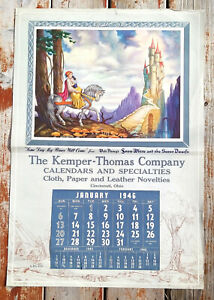 1946 Vintage Snow White Calendar Seven Dwarfs Disney Salesman Sample Poster