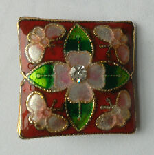 Square CLOISONNE Bead, Red/Rose/Rhinestone, 22 mm. Jewellery Making/Crafts