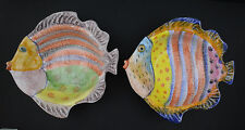 Italica Two Italy Hand Painted Fish Serving Bowls