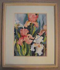 "Anne Allemann Original Watercolor ""Iris"" 22"" x 26"" Pro Framed Double Matte"