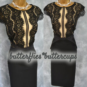 ~ PHASE EIGHT ~ Size 14 Slimming Black Nude Lace Dress Suit Mother of the Bride