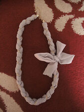 Ladies Grey Fabric Necklace with bow and gold chain detail