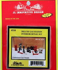 JL Innovative HO/HOn3 Deluxe Gas Station Interior Detail Set 18 pc. (510)