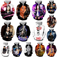 Hot Womens Mens 3D Print Michael Jackson Hoodie Casual Sweatshirt Pullovers Tops