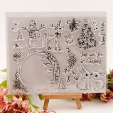 Christmas Deer Snowman Silicone Clear Stamp Rubber Stamps DIY Scrapbook HI