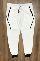 WEIV White Zipper Pocket Athletic Joggers Track Pants Men XXXL Cotton/Polyester