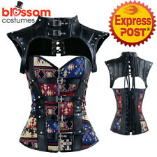 CC106 Steampunk Boned Faux Leather Corset Bustier Brocade Goth Halloween Costume