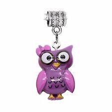 Purple Resin Owl Lavender Bow Girl Bird Dangle Charm for European Bead Bracelets