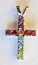 Sterling Silver Multi Stone Cross Pendant Religious Christian  Gemstone