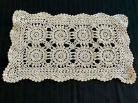 Vintage Off-white Rectangular Lace Crocheted Doily Runner Bureau Scarf