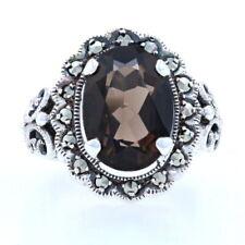 Sterling Smoky Quartz & Marcasite Floral Halo Ring - 925 Oval 6.50ct Milgrain
