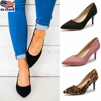 Womens Ladies Low Mid Heel Pumps Kitten Heel Pointed Tow Work Court Shoes Size
