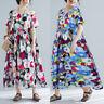 Mode Femme Oversize Robe Coton Floral Manche Courte Col Rond Casuel Ample Dresse