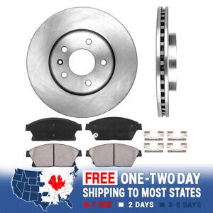 2015 For Buick Verano Front Anti Rust Coated Disc Brake Rotors and Ceramic Brake Pads