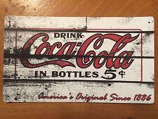 Tin Sign Vintage Coca-Cola Drink In Bottles 5 Cents