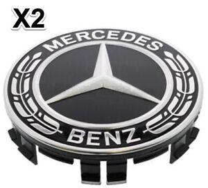 2 Wheel Hub Cap W. Mercedes Benz Emblem OEM# 2224002200  Alloy Wheel BLACK