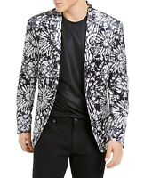 INC Mens Blazer Black Gray Size XL Velvet Slim-Fit Floral Two-Button $149 470