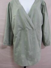 Sonoma women top casual green floral v neck tie in the back 3/4 sleeve sz 2X