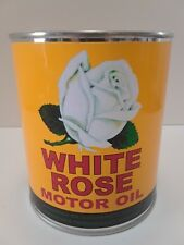 Antique White Rose Motor Oil Can 1 qt. -  ( Reproduction Tin Collectible )
