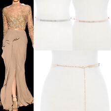 Women Full Metal Plate Skinny Chain Stretch Waist Mirror Belt OBI Wedding Dress