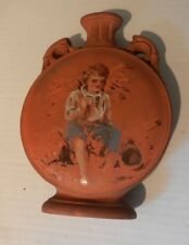 Antique  Moon Flask - hand painted Torquay Terra Cotta Company  c1880 YOKAHN