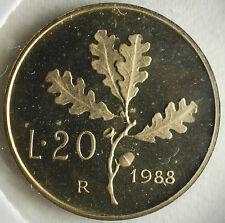 1988   Repubblica Italiana  20  lire  FONDO SPECCHIO  da divisionale