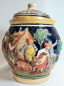 "RARE! GERZ HANDGEMALT Germany Lidded Cookie Tobacco Jar - Vintage 6.5""H x 5""W"