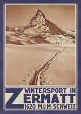 Vintage Ski Posters WINTERSPORT IN ZERMATT, Swiss, 1929, A3 250gsm Travel Print