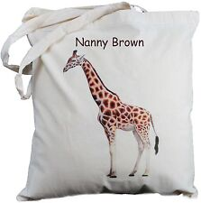 PERSONALISED GIRAFFE COTTON SHOULDER BAG Shopping TOTE