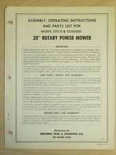 """Western Tool 20"""" Rotary Power Mower Assembly, Operating, Parts Manual 1215-0"""
