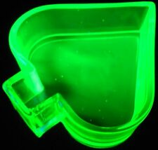 Green Vaseline Uranium glass spade pattern salt dip cellar yellow poker art card
