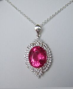 23.65 CT HOT PINK FLUORITE, CZ NECKLACE 14k WHITE GOLD over 925 STERLING SILVER