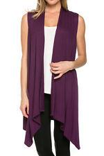 Women Open Vest Tunic Top Shawl Collar Draped Sleeveless Cardigan S M L XL USA