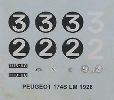 CCC 1/43e: décalcomanies: Peugeot 174S Le Mans 1926
