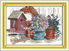 BNIP JOY SUNDAY GARDEN CORNER cross stitch kit 14 ct size 21 x 16 cm