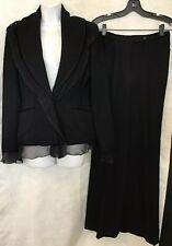 emanuel ungaro Pant Suit Black Wool Crêpe Silk And Velvet Trim Size 8