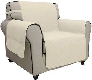Easy-Going Waterproof Sofa Slipcover Non Slip Cover Couch Pets(CHAIR, Ivory)
