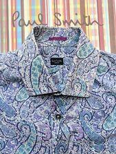 PAUL SMITH FLORAL MEN'S SHIRT Size L - 16 / 41 - 60s Style Paisley Pattern