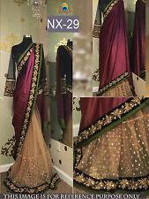 Beautiful Designer Party Wear Maroon & Beige Color Half & Half Saree