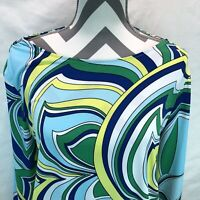 Chicos Modern Movement 3/4 Sleeve Cold Shoulder Blue Green Blouse Sz 2 NWT MMM10