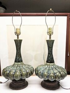 "Pair MCM Ceramic Lamps Blue Green Cream 28 3/4"" Tall"