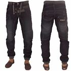 New ENZO Mens Designer Cuffed Jogger Denim Jeans Trousers All Waist Sizes