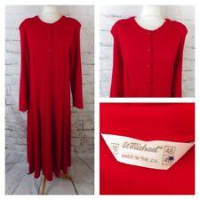 "Vintage ST MICHAEL shirt shift dress 14 L Long bust 40"" red long sleeve M&S"